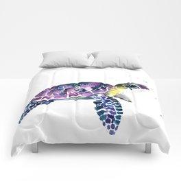 Sea Turtle, purple baby turtle illustration design Comforters