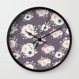 Dog Rose Pattern  Mauve Wall Clock