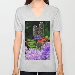 Red Dragonfly on Violet Purple Flowers Unisex V-Neck