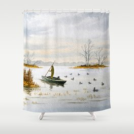 Duck Hunting - The Island Duck Blind Shower Curtain