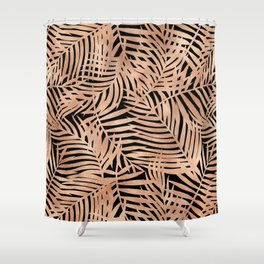 Tropical Rose Gold Leaves Shower Curtain
