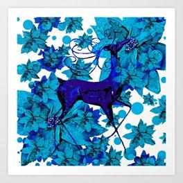 Reindeer Blue Art Print