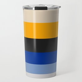 Complementary Blue & Yellow Colorful Geometric Pattern Travel Mug