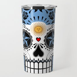 Sugar Skull with Roses and Flag of Argentina Travel Mug
