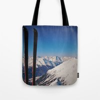 ski Tote Bags featuring ski by Vii.