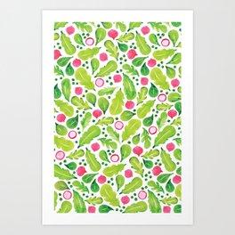 Green Salad pattern Art Print