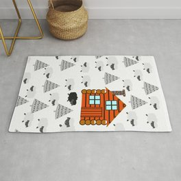 Winter cabin with sheep Rug