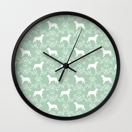 English Springer Spaniel dog breed mint floral pet portraits dog silhouette dog pattern Wall Clock