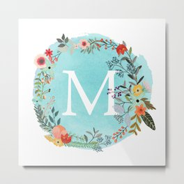 Personalized Monogram Initial Letter M Blue Watercolor Flower Wreath Artwork Metal Print
