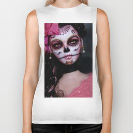 Mexican Hibiscus Day of the Dead Skull Biker Tank