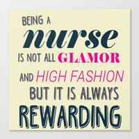 nurse Canvas Prints featuring NURSE by I Love Decor
