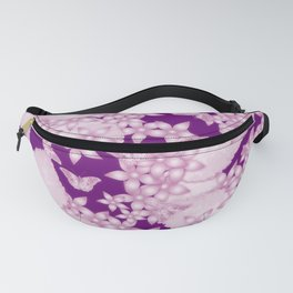 Pink blossoms and butterflies on purple Fanny Pack