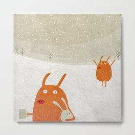 Suddenly an old friend in the snow Metal Print