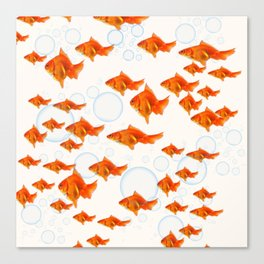 ABSTRACT GOLD FISH SWIMMING ART  DESIGN Canvas Print