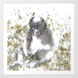 fascinating altered animals - Bonobo Art Print