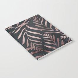 Rose Gold Leaves on Dark Gray Black Notebook