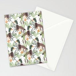 Botanical Duck Illustration Pattern Stationery Cards