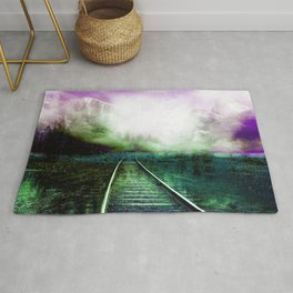 Railway, abstract green-purple Rug