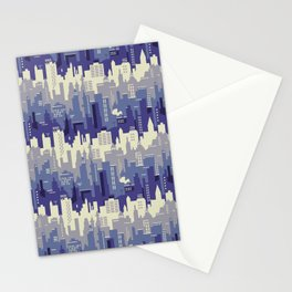 Amethyst abstract city ladscape Stationery Cards