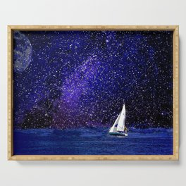 Sailing Under the Milky Way, Nautical Art, Beach Art, Coastal Art Serving Tray