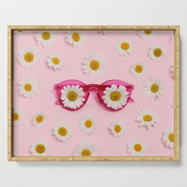 Pink sunglasses with daisies Serving Tray