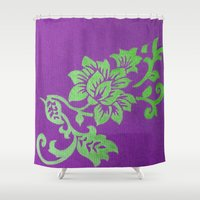 floral pattern Shower Curtains featuring Floral Pattern by Marjolein