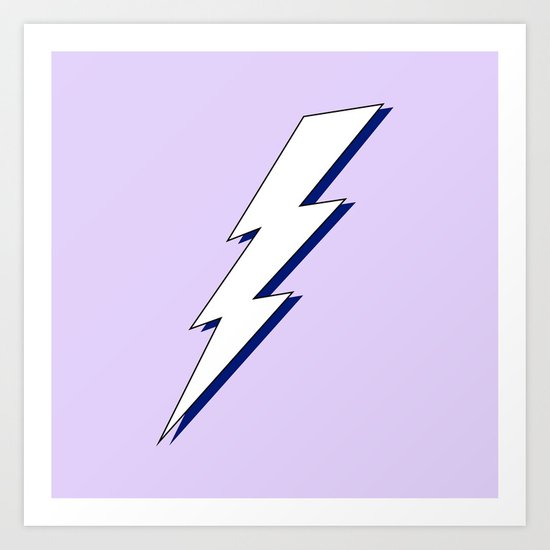 Just Me and My Shadow Lightning Bolt - Purple White Blue by multifascinated