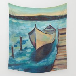 Boat to the Pier Wall Tapestry