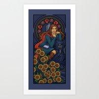 nouveau Art Prints featuring Pond Nouveau by Karen Hallion Illustrations