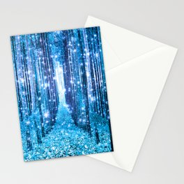 Magical Forest  Light Blue Turquoise Stationery Cards