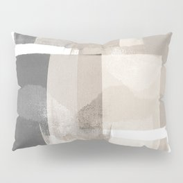 "Grey and Beige Minimalist Geometric Abstract ""Building Blocks"" Pillow Sham"