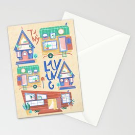 cute tiny house // tiny living // cottage // naive art Stationery Cards