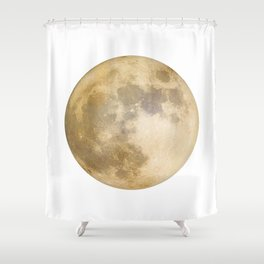 Moon in Gold Shower Curtain