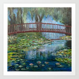 Lilly Pads at Lake Te Koutu - Monet Inspired Art Print