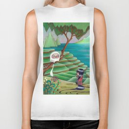 Meeting Friend by  Rice Paddies Biker Tank