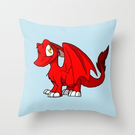 Red SD Furry Dragon Throw Pillow