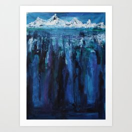 Falling into the endless ocean Art Print