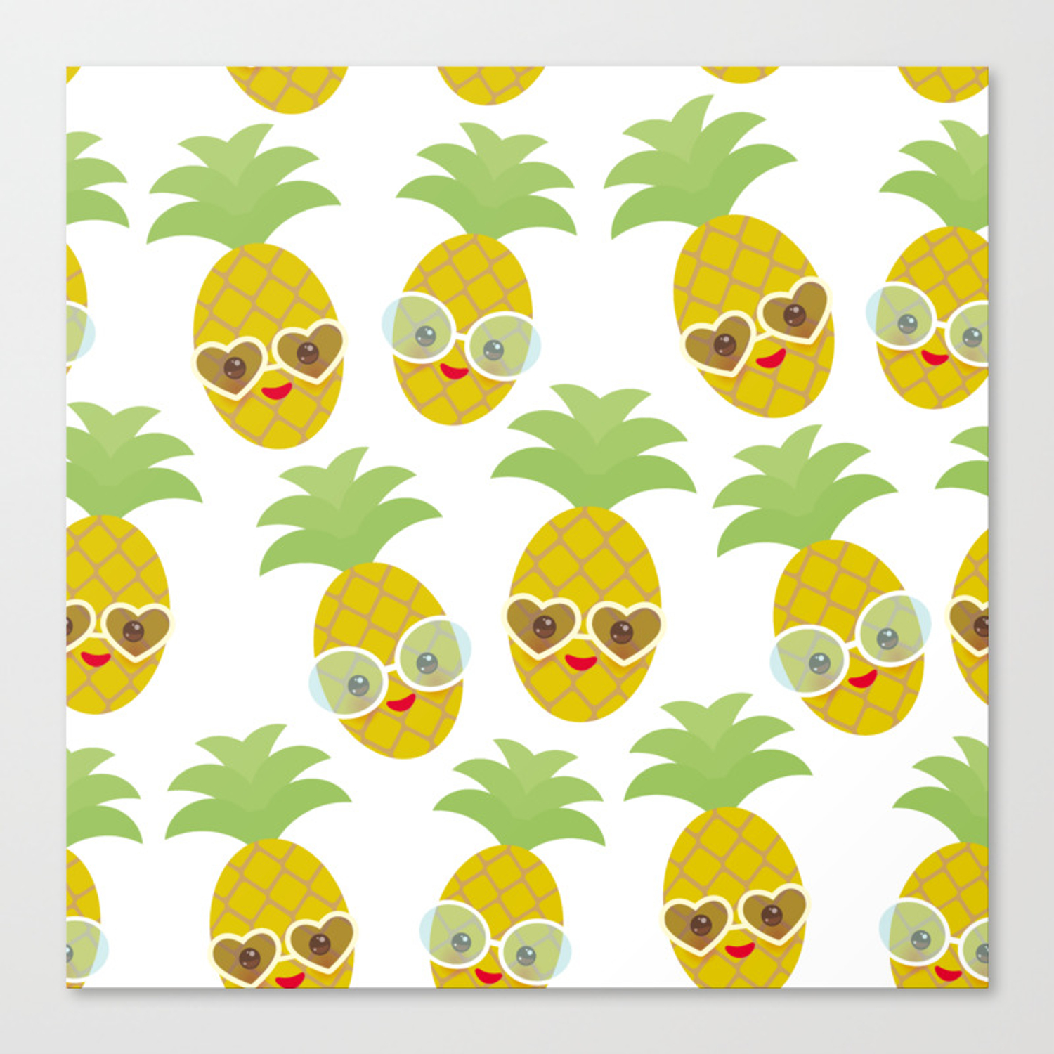 4583265b89fc funny kawaii exotic fruit pineapple with sunglasses on white background Canvas  Print. by
