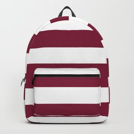 Claret - solid color - white stripes pattern Backpack