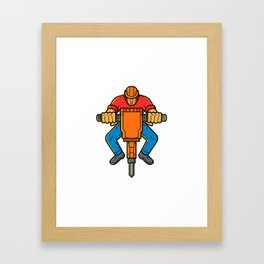 Construction Worker Jackhammer Mono Line Art Framed Art Print