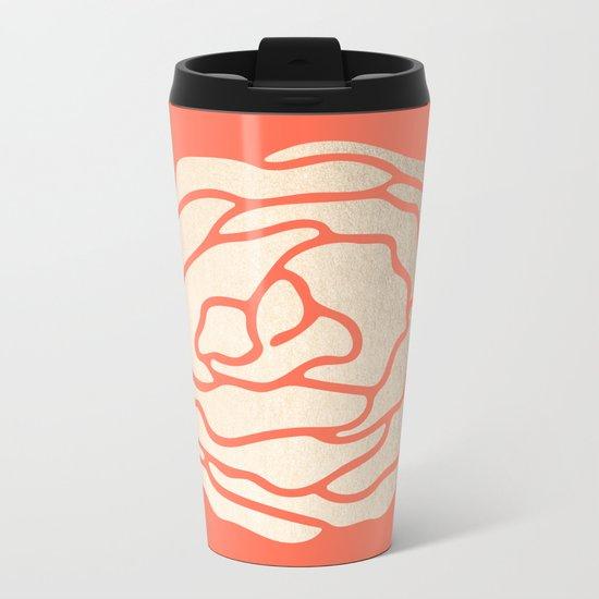 Rose White Gold Sands on Deep Coral Metal Travel Mug