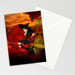 Witch and Red Moon Stationery Cards