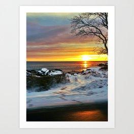 Snowy Sunrise on the Coast of Maine in Cape Elizabeth Art Print