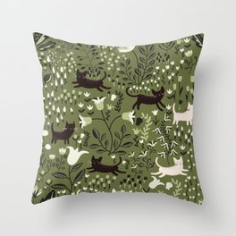 Cats in the Garden Pattern Throw Pillow