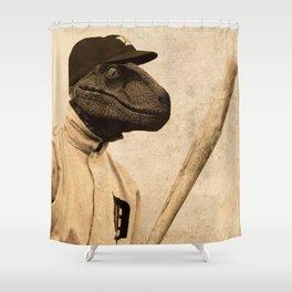 Baseball Velociraptor Shower Curtain