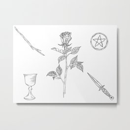 Rose with Tarot Suits / Botanical Line Drawing Metal Print