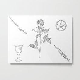 Rose with Tarot Suits / Botanical Line Drawing Metal Print
