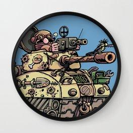 Desert fox and a tank Wall Clock