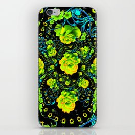 YELLOW ROSE & BLUE RIBBONS ON BLACK ART iPhone Skin