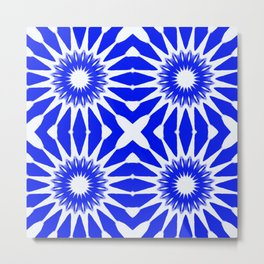 Royal Blue & White Pinwheel Flowers Metal Print